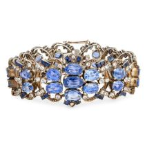 A CEYLON NO HEAT BLUE SAPPHIRE AND WHITE SAPPHIRE BRACELET the body formed of a series of openwork