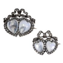 AN EXQUISITE PAIR OF ANTIQUE MOONSTONE AND DIAMOND SWEETHEART BROOCHES, 19TH CENTURY in yellow