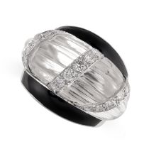 A VINTAGE ROCK CRYSTAL, DIAMOND AND ENAMEL RING, DAVID WEBB in platinum and 14ct white gold, of