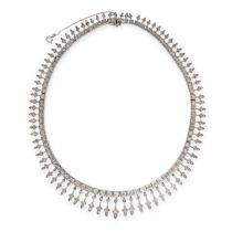 AN ANTIQUE DIAMOND NECKLACE, EARLY 20TH CENTURY, comprising a series of square links set with old