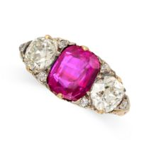 A BURMA NO HEAT RUBY AND DIAMOND RING in 18ct yellow gold, set with a cushion cut ruby of 2.96