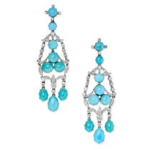 A PAIR OF TURQUOISE AND DIAMOND CHANDELIER EARRINGS in platinum, the articulated bodies set with