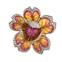 A RUBY, DIAMOND AND PLIQUE-A-JOUR ENAMEL FLOWER BROOCH in 18ct yellow gold and silver, designed as a