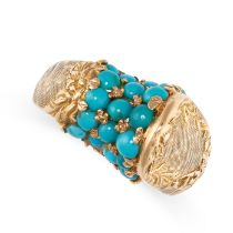 A TURQUOISE DRESS RING in 18ct yellow gold, the stylised body set with round cabochon turquoise,