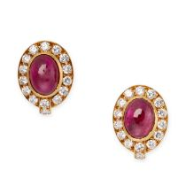 A PAIR OF RUBY AND DIAMOND CLIP EARRINGS, VAN CLEEF & ARPELS in 18ct yellow gold, each set with an