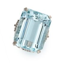 AN AQUAMARINE AND DIAMOND COCKTAIL RING in platinum, set with an emerald cut aquamarine of 56.19