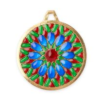 A VINTAGE PLIQUE-A-JOUR ENAMEL PENDANT, CARTIER in 18ct yellow gold, the circular body formed of a