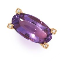 AN AMETHYST AND DIAMOND RING, VAN CLEEF AND ARPELS set with an oval cabochon amethyst accented by