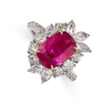 A 3.61 CARAT BURMA NO HEAT RUBY AND DIAMOND RING in 18ct white gold, set with a cushion cut ruby