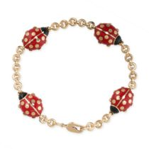 A VINTAGE ENAMEL LADYBIRD BRACELET, CARTIER in 18ct yellow gold, with four links designed as