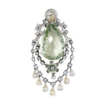 A PRASIOLITE, AQUAMARINE AND DIAMOND PENDANT set with a large pear shaped prasiolite, within a