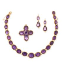 AN AMETHYST RIVIERE NECKLACE, PENDANT AND EARRINGS SUITE in yellow gold, the necklace comprising a