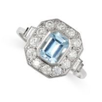 AN AQUAMARINE AND DIAMOND RING set with an emerald cut aquamarine within a border of round cut