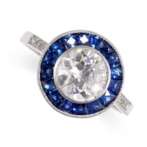 A DIAMOND AND SAPPHIRE RING of target design, set with an old cut diamond weighing 1.19 carats,
