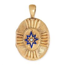 AN ANTIQUE PEARL AND ENAMEL MOURNING LOCKET PENDANT, 19TH CENTURY in yellow gold, the hinged oval