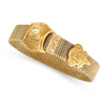 A FANCY LINK BUCKLE BRACELET the strap with applied belt buckle closure, with engraved decoration,
