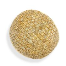 A YELLOW DIAMOND COCKTAIL RING of bombe design, pave set with round cut yellow diamonds to the domed