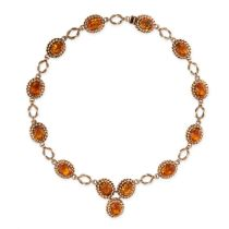A VINTAGE CITRINE NECKLACE, CIRCA 1960 in yellow gold, comprising a series of ten links set with