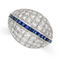 A VINTAGE DIAMOND AND SAPPHIRE COCKTAIL RING in 18ct white gold, of bombe design, set with a central