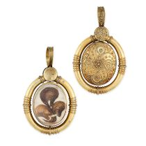 AN ANTIQUE HAIRWORK AND PEARL MOURNING LOCKET PENDANT, 19TH CENTURY in yellow gold, in the