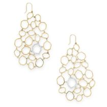 RON HAMI, A PAIR OF DIAMOND PENDENT EARRINGS each of abstract design, formed of a series of