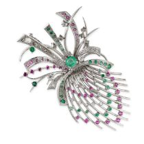 A VINTAGE RUBY, EMERALD AND DIAMOND BROOCH, 1960S designed as an abstract bouquet, set with rose,