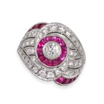 A RUBY AND DIAMOND DRESS RING in 18ct white gold, set with calibre cut rubies and round cut