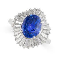 A CEYLON NO HEAT SAPPHIRE AND DIAMOND RING set with a cushion cut blue sapphire weighing 5.05
