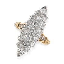 A DIAMOND RING of navette shaped outline, pave set with round cut diamonds, the shoulders accented