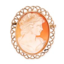 A CAMEO BROOCH set with a carved shell cameo depicting the bust of a lady within a wirework