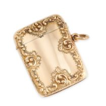NO RESERVE -A FINE ANTIQUE VESTA / MATCH CASE, HENRY MATTHEWS 1897 in 9ct yellow gold, the stylised