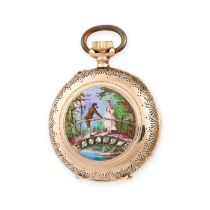 NO RESERVE -AN ANTIQUE DIAMOND AND ENAMEL POCKET WATCH in 18ct yellow gold, the circular white dial