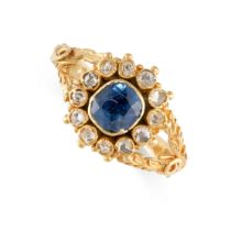 NO RESERVE -AN ANTIQUE SAPPHIRE AND DIAMOND RING, 19TH CENTURY in yellow gold, set with a cushion