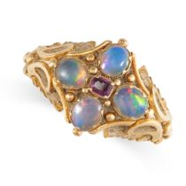 NO RESERVE -AN ANTIQUE VICTORIAN GARNET AND OPAL RING, 19TH CENTURY in yellow gold, set with a