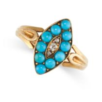 NO RESERVE -AN ANTIQUE VICTORIAN TURQUOISE AND DIAMOND RING, 1890 in 18ct yellow gold, the
