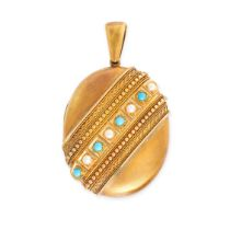 NO RESERVE -AN ANTIQUE TURQUOISE AND PEARL MOURNING LOCKET PENDANT in 15ct yellow gold, the