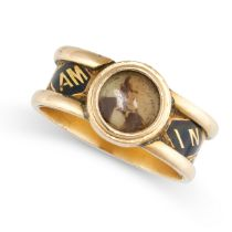 NO RESERVE -AN ANTIQUE VICTORIAN PORTRAIT MINIATURE AND ENAMEL MOURNING LOCKET RING, 1865 in 18ct