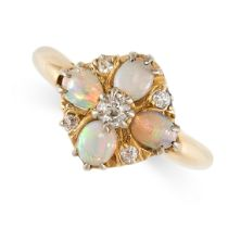 NO RESERVE -AN ANTIQUE OPAL AND DIAMOND DRESS RING in 18ct yellow gold, set with four oval cabochon