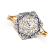 NO RESERVE -AN ART DECO DIAMOND AND SAPPHIRE RING in 18ct yellow gold and platinum, the hexagonal