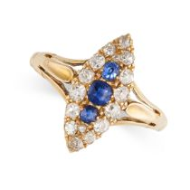 NO RESERVE -AN ANTIQUE SAPPHIRE AND DIAMOND RING in 18ct yellow gold, set with a trio of