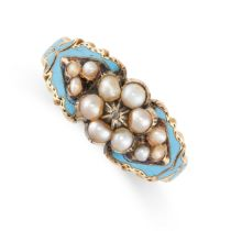 NO RESERVE -AN ANTIQUE VICTORIAN DIAMOND, PEARL AND ENAMEL RING in high carat yellow gold, designed