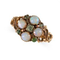 NO RESERVE -AN ANTIQUE VICTORIAN OPAL AND EMERALD RING, 1869 in 15ct yellow gold, set with round