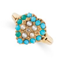 NO RESERVE -AN ANTIQUE VICTORIAN TURQUOISE, PEARL AND DIAMOND SWEETHEART RING, 1871 in 18ct