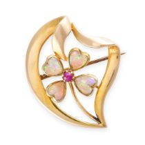 NO RESERVE -AN ANTIQUE OPAL AND RUBY BROOCH in 15ct yellow gold, designed as a four-leaved