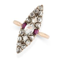 NO RESERVE -AN ANTIQUE DIAMOND AND RUBY RING in 18ct yellow gold and silver, the navette shaped