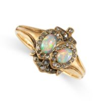 NO RESERVE -AN ANTIQUE OPAL AND DIAMOND SWEETHEART RING in 18ct yellow gold, set with two oval