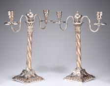 A PAIR OF OLD SHEFFIELD PLATE CANDELABRA, CIRCA 1770