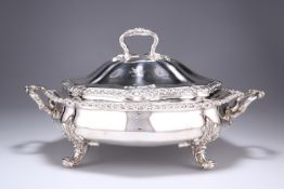 A GEORGE IV SILVER SERVING DISH AND COVER