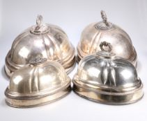 ^ TWO PAIRS OF SILVER-PLATED MEAT COVERS
