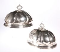 A PAIR OF 19TH CENTURY SILVER-PLATED MEAT COVERS